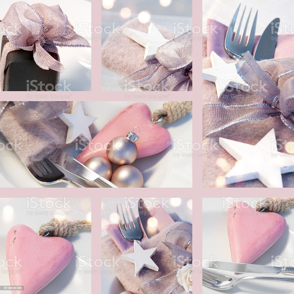 Collage of Christmas table decorations stock photo