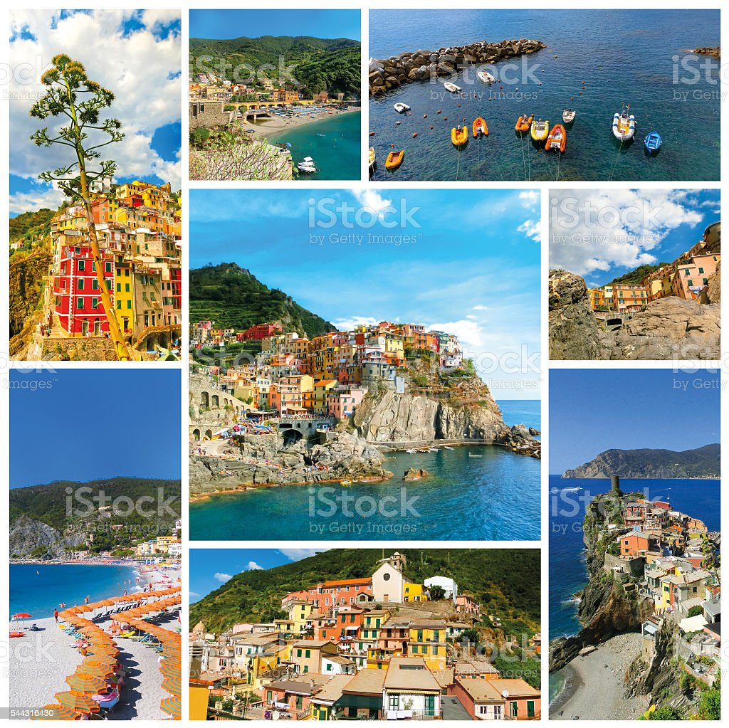 collage of Cinque Terre photos in Italy stock photo