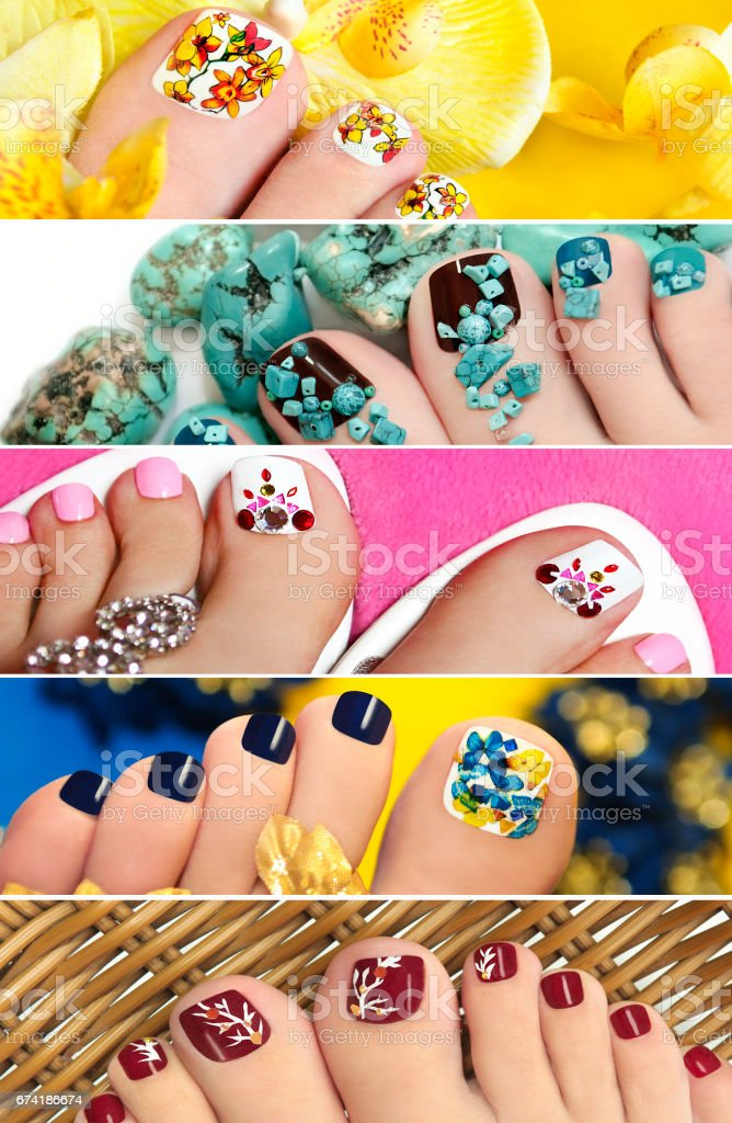 Collage of colorful pedicure. stock photo
