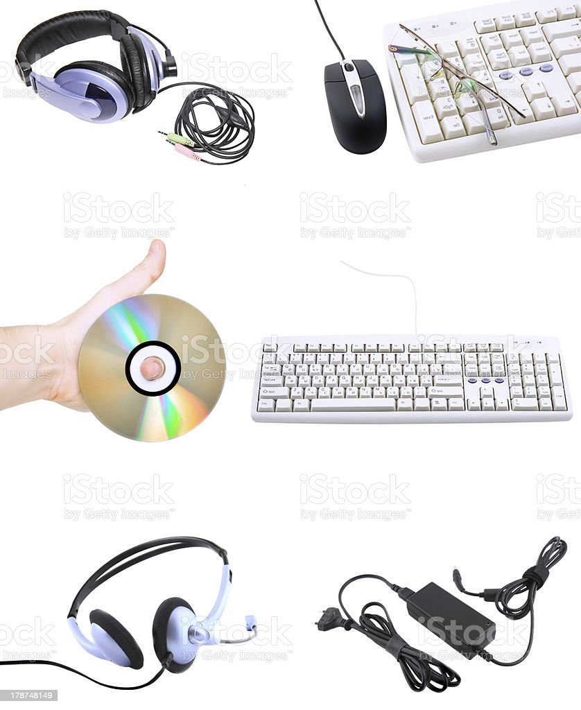 Collage of computers devices. Isolated royalty-free stock photo