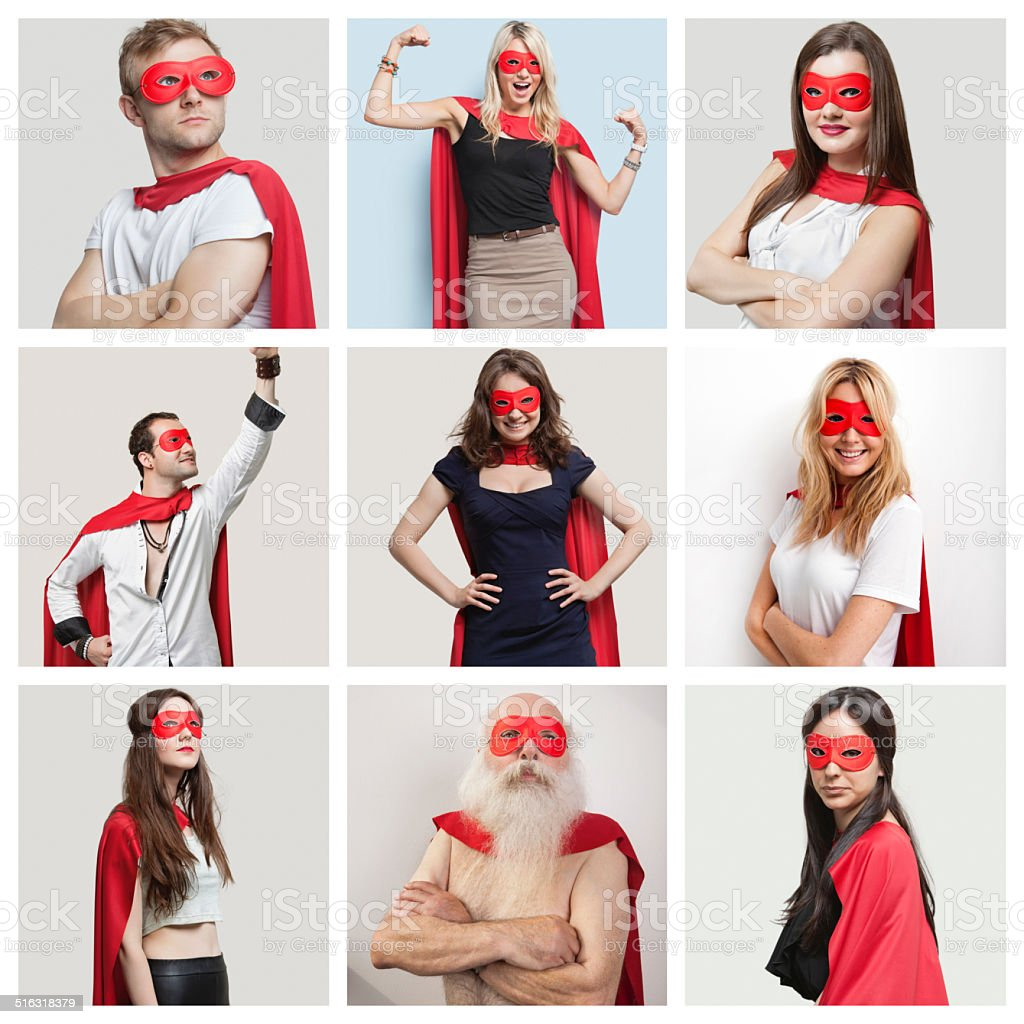 Collage of confident people wearing superhero costumes stock photo