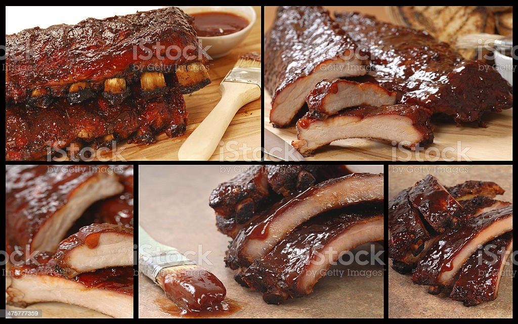 Collage of delicious BBQ foods stock photo