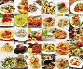 collage of different pasta dishes of Italian cuisine
