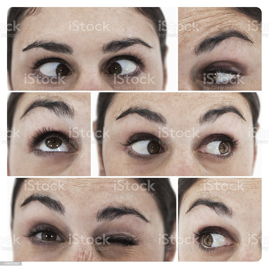 Collage of different pictures showing the eyes royalty-free stock photo