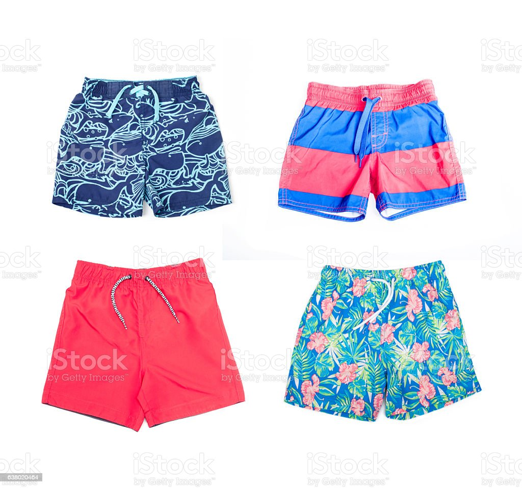 Collage of different shorts for boys stock photo
