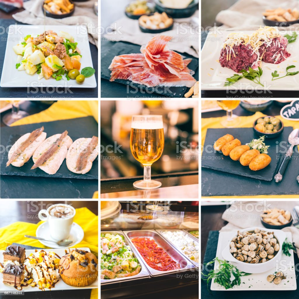 Collage of different Spanish Tapas, such as Spanish Ham, Beer, Salad with Tuna, Snails, Dessert stock photo