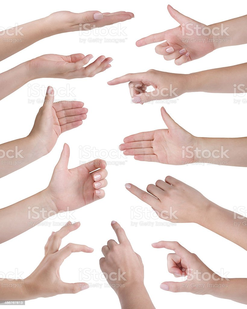 Collage of eleven woman hands isolated on white stock photo