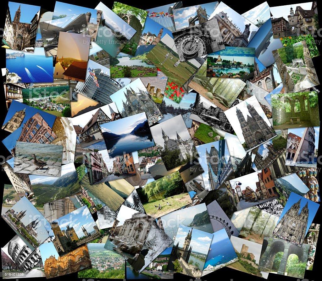 Collage of European travel photos stock photo