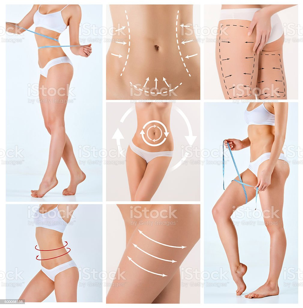 Collage of female body with the drawing arrows stock photo