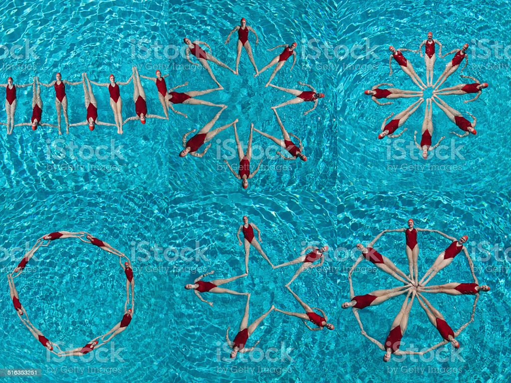 Collage of female synchronized swimmers stock photo
