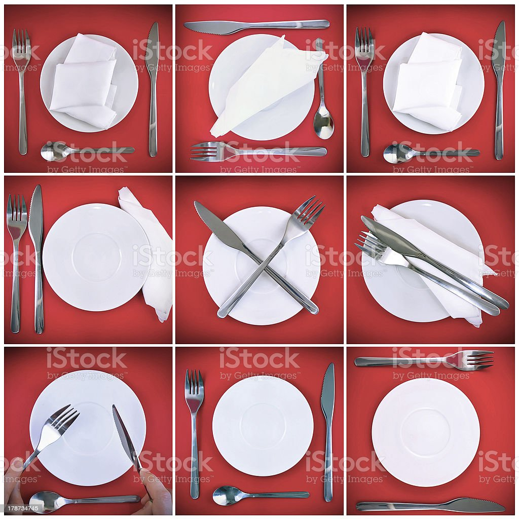 Collage of forks,knifes,spoons on red background. royalty-free stock photo