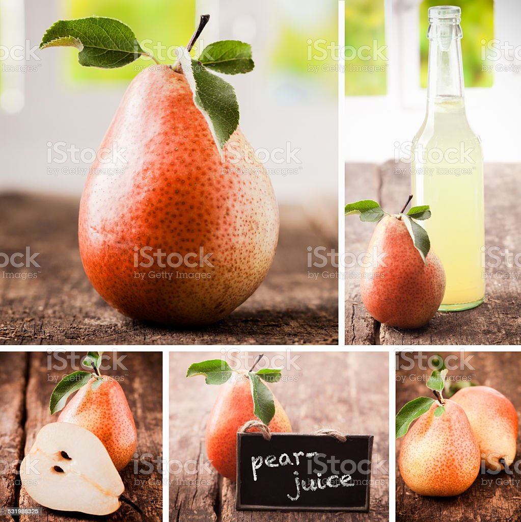 Collage of fresh pears stock photo