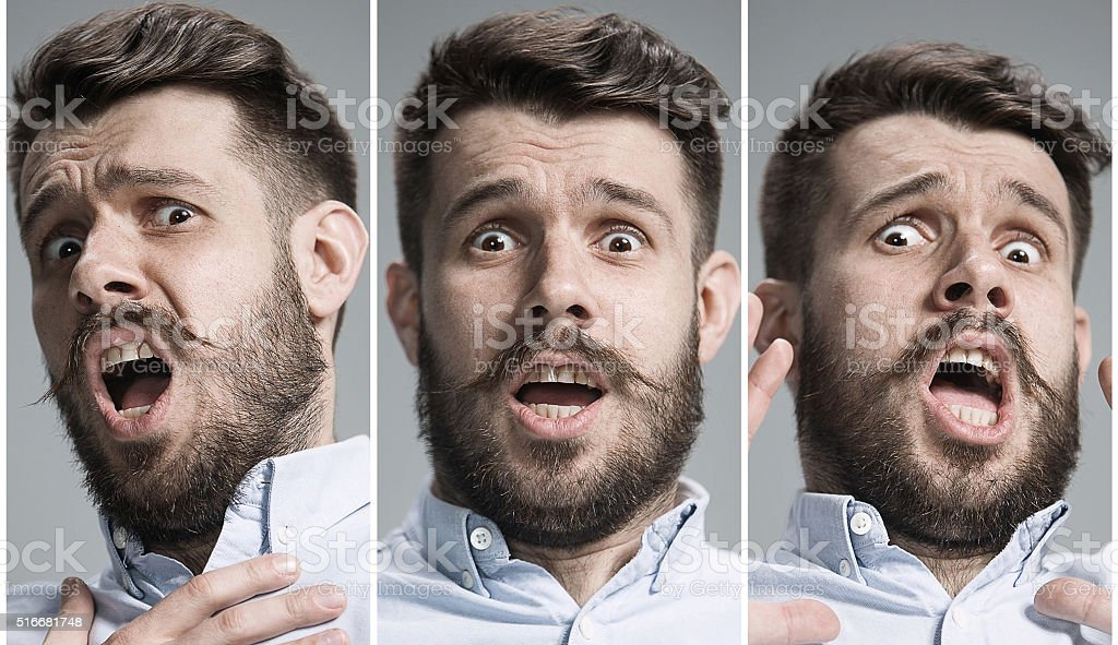 Collage of frightened emotions stock photo