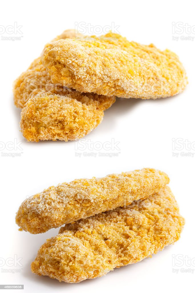Collage of frozen bread crumbed chicken strips on white. stock photo