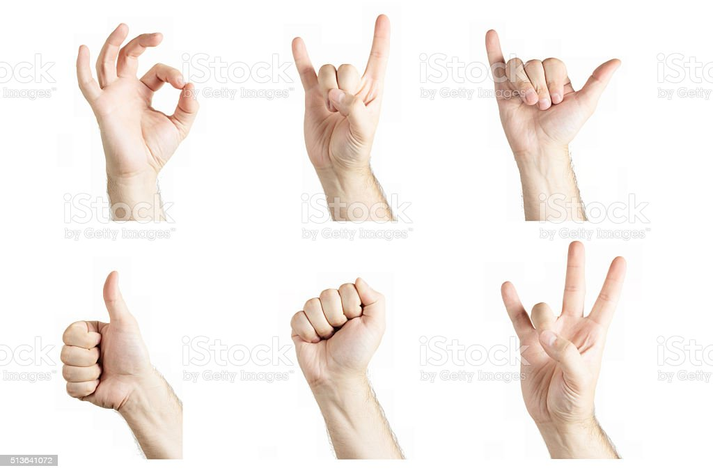 Collage of gestures stock photo
