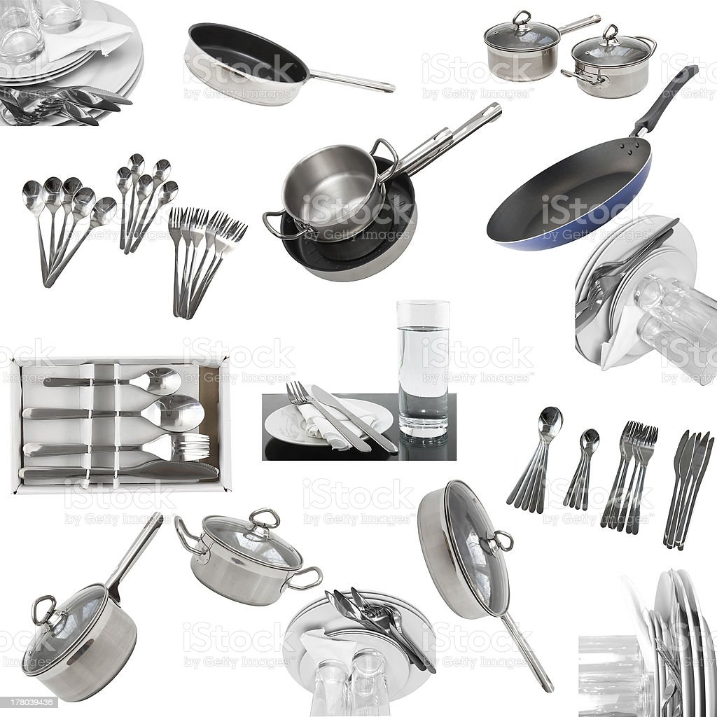 Collage of glasses, plates, dishware, utensil. royalty-free stock photo