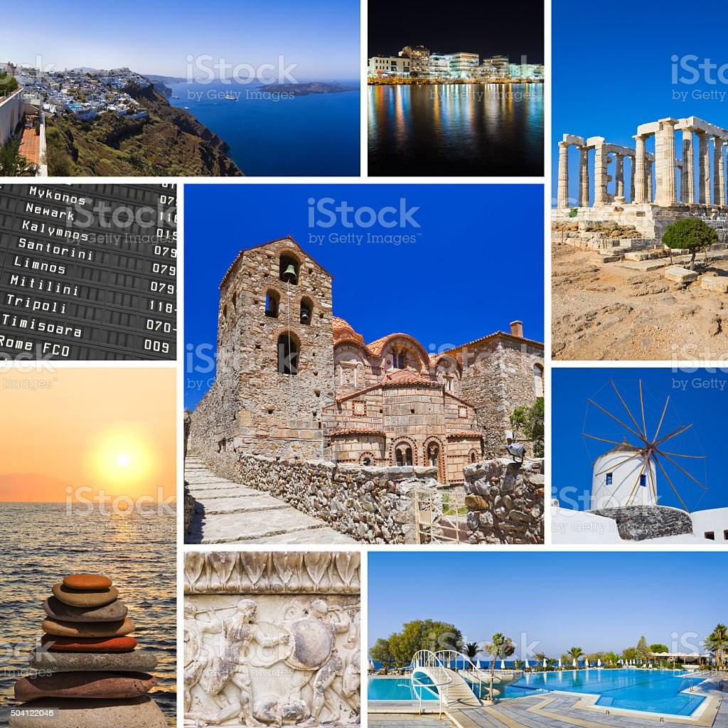 Collage of Greece travel images stock photo