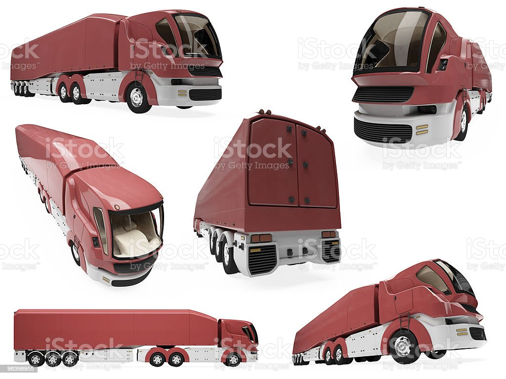 Collage of isolated concept truck royalty-free stock photo