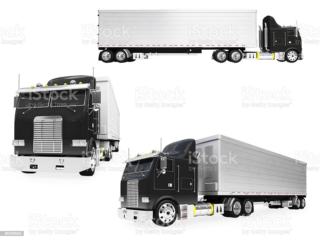 Collage of isolated truck royalty-free stock photo