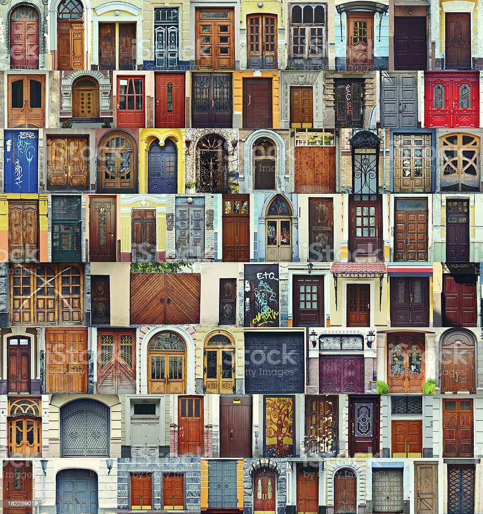 Collage of Kiev front doors,Ukraine stock photo