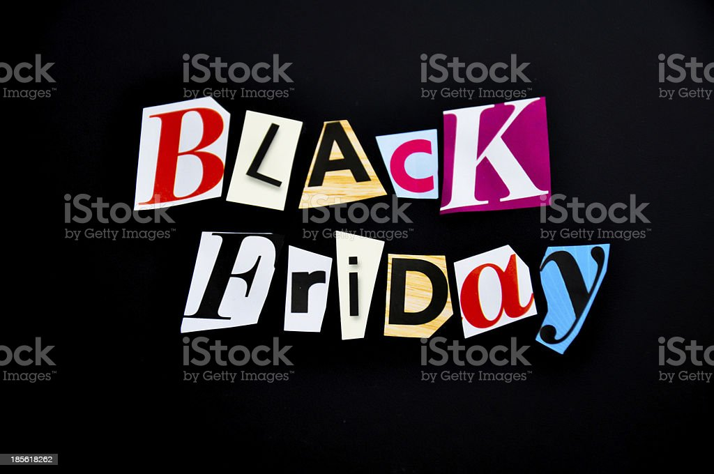 Collage of letters spelling Black Friday royalty-free stock photo