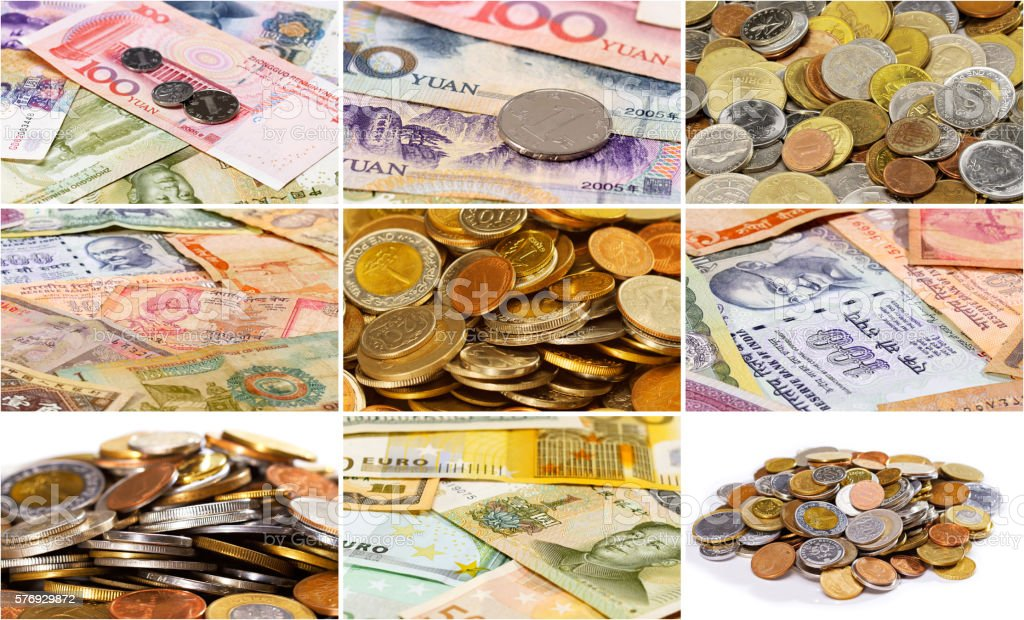 Collage (set) of many different asian currency bank notes  and stock photo