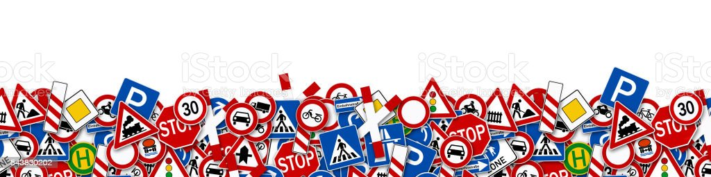collage of many road sign illustration stock photo