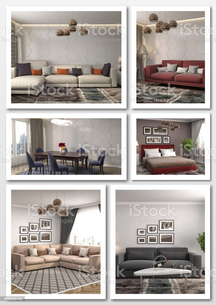 Collage of modern home interior. 3d illustration stock photo