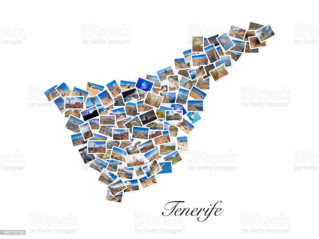 Collage of my best photos forming Tenerife island shape . stock photo
