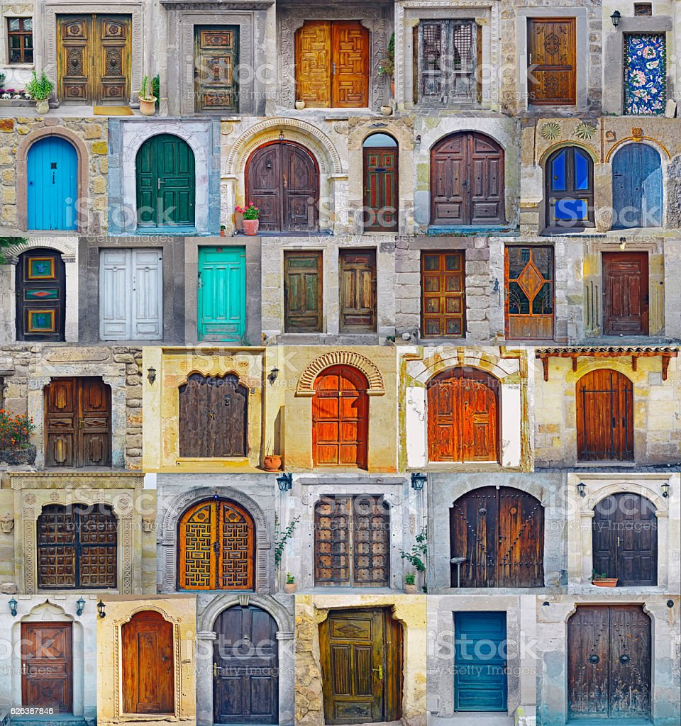 Collage of Nevhesir front doors,Cappadocia stock photo
