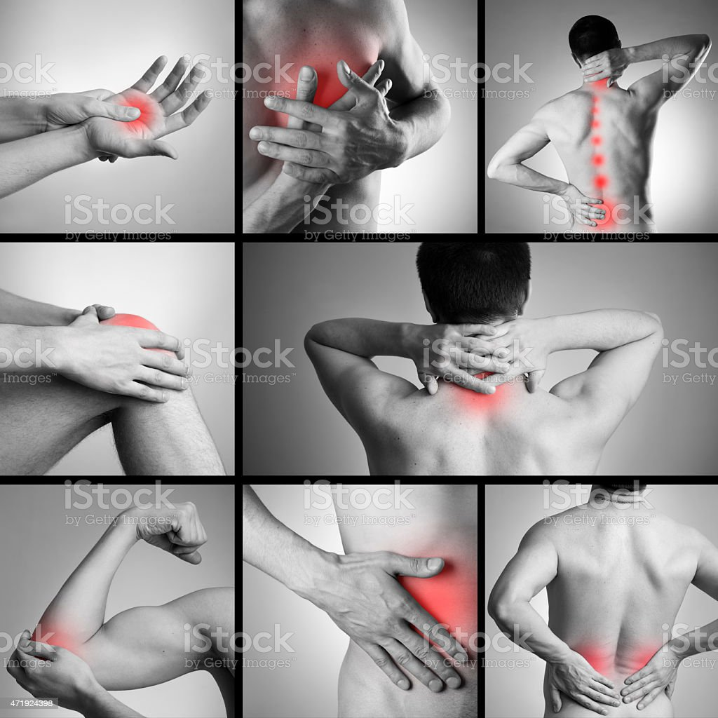 Collage of painful spots of man's body stock photo