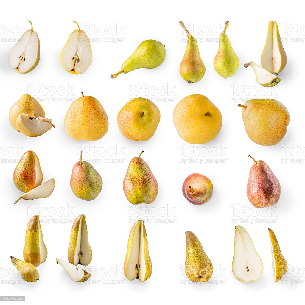 Collage of pears on the white background stock photo