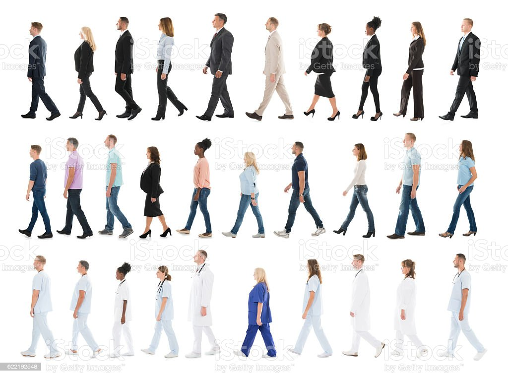 Collage Of People Walking In Line stock photo
