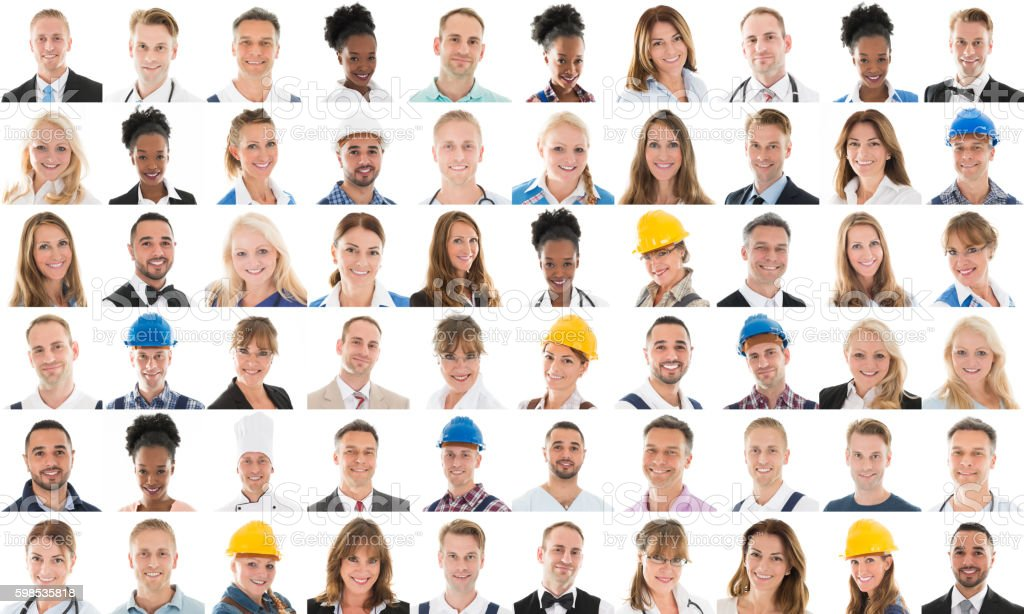 Collage Of People With Different Profession stock photo