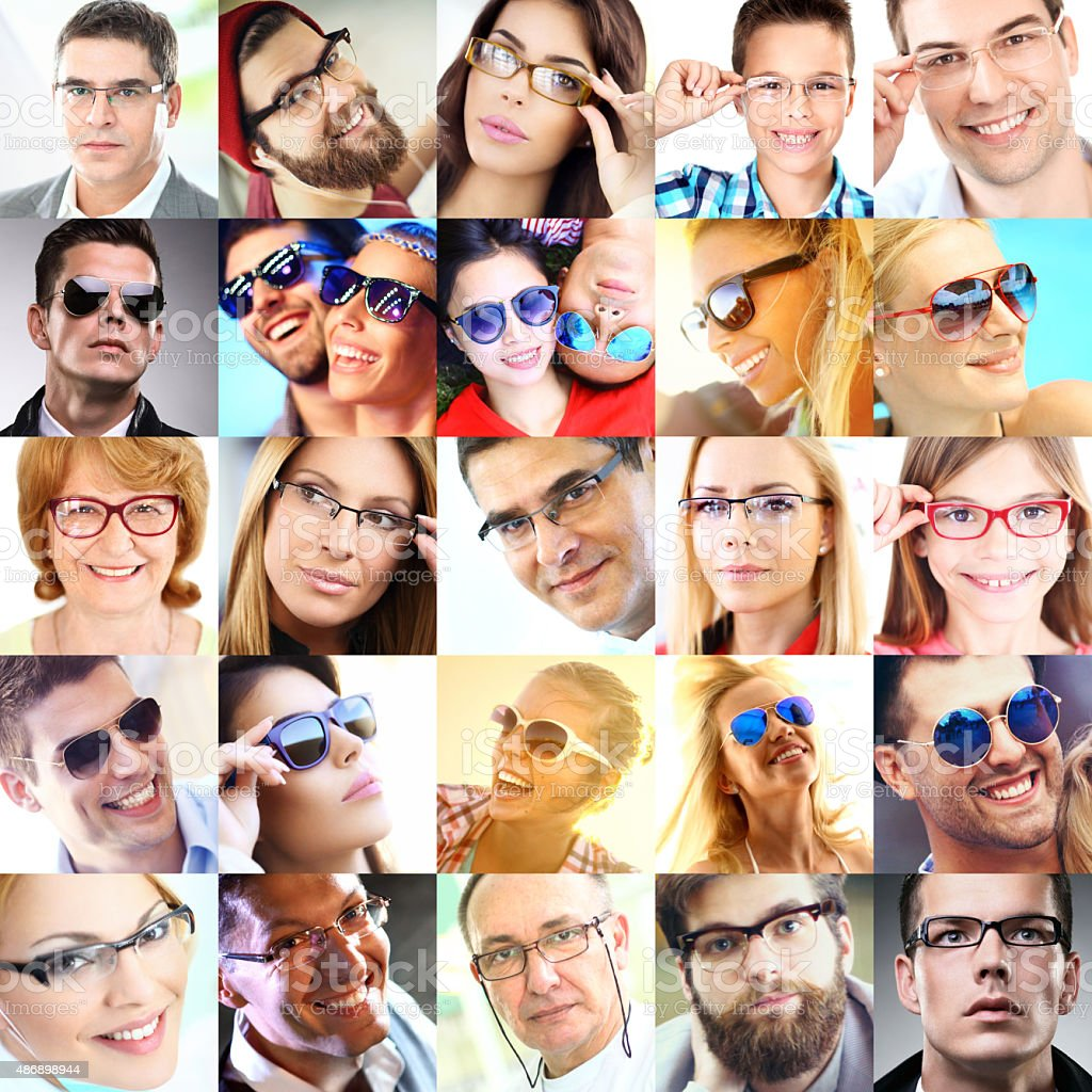 Collage of people with eyeglasses. stock photo