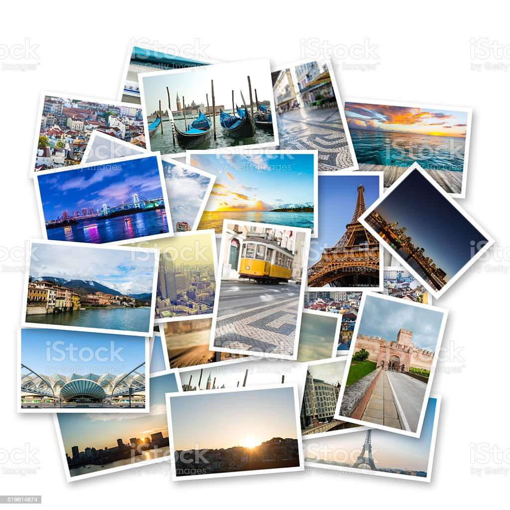 collage of photos with famous travel destinations stock photo