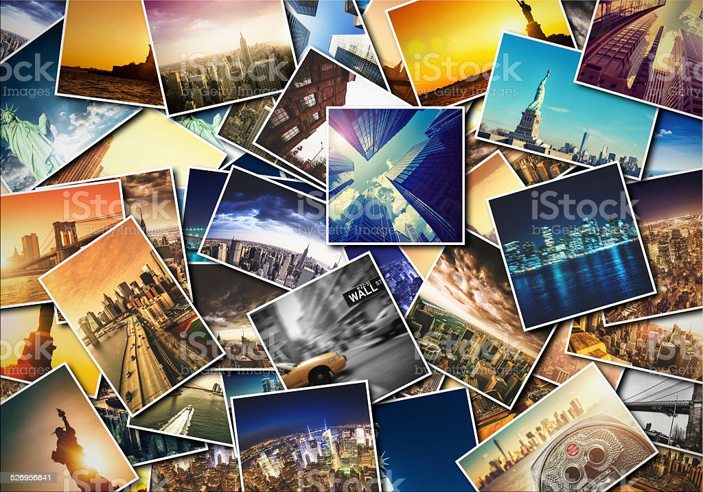 collage of printed new york city images stock photo