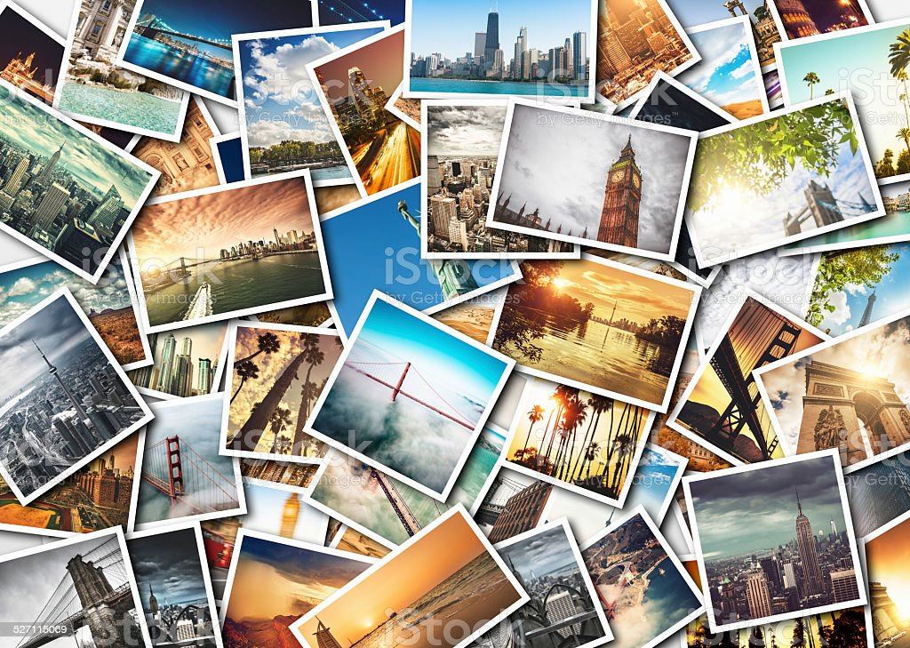 collage of printed travel images stock photo