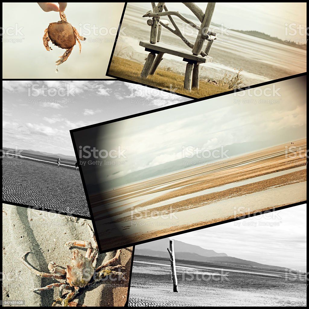 Collage of Rathtrevor Beach- vintage images stock photo
