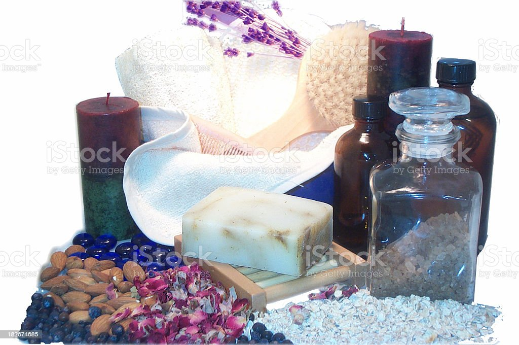 collage of relaxing spa items royalty-free stock photo