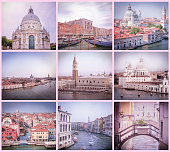 Collage of retro stile images from Venice in pink and