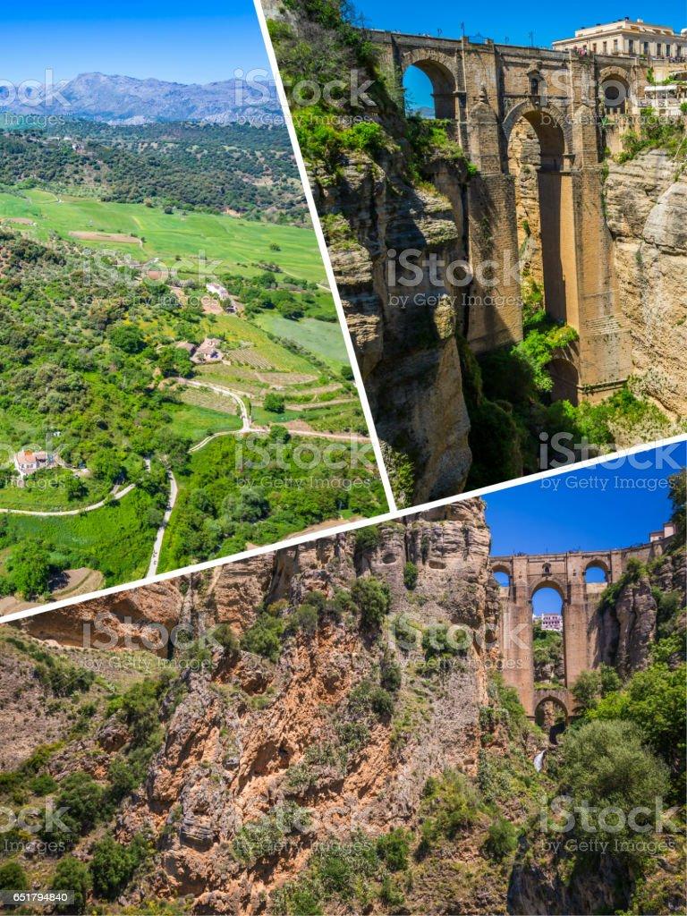 Collage of Ronda, Spain at Puente Nuevo Bridge. stock photo