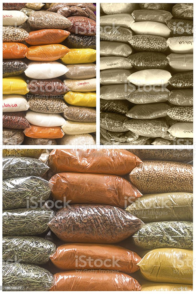 collage of spices in a market stock photo