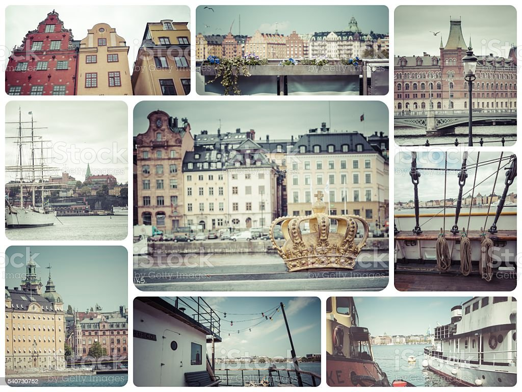 Collage of Stockholm (Sweden) images - travel background (my pho stock photo