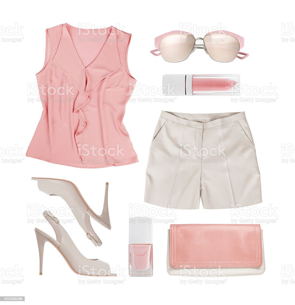 Collage of summer women clothes and accessories isolated on white stock photo