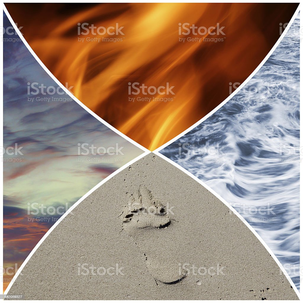 Collage of the four classical elements stock photo