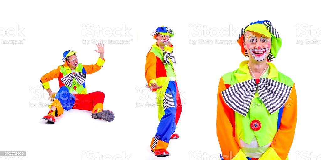 Collage of three: smiling and fooling around animator in clown theater role. Emotional and colorful. Isolated background stock photo