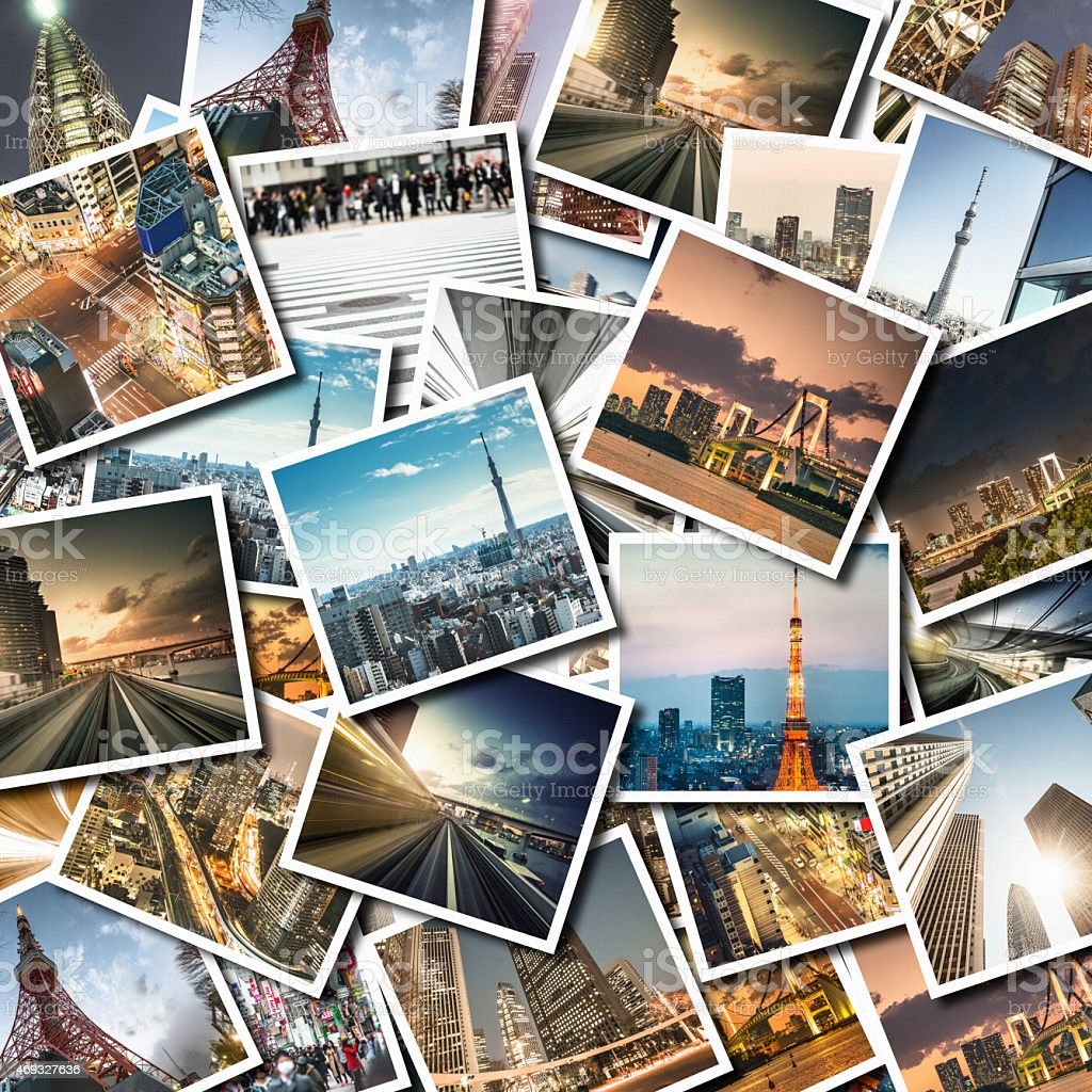 Collage of Tokyo landmark stock photo