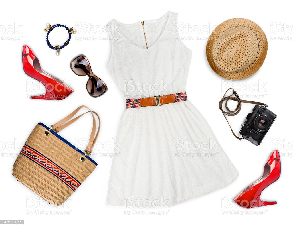 Collage of tourist clothing and accessories isolated on white stock photo
