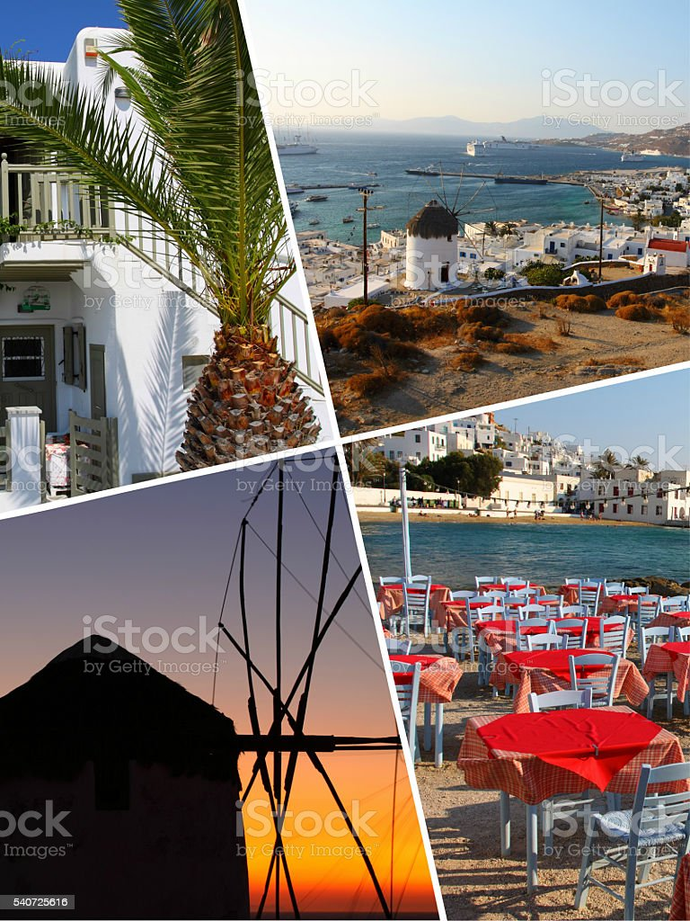 Collage of Tropical Greece islands images - travel background (m stock photo